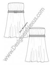 v26 strapless belted baby doll dress illustrator flat fashion