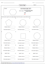 Sum Of The Interior Angles Of A Polygon Worksheet Polygon Worksheets