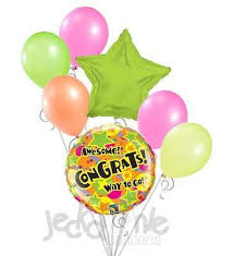 retirement balloon bouquet colorful bright neon congrats balloon bouquet congratulations