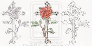 traditional cross rose tattoo set photo 3 2017 real photo
