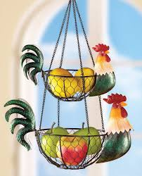 rooster kitchen hanging wire baskets holds fruit vegetables