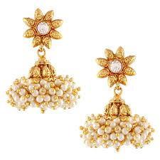 jhumka earrings online shopping buy girl kundans jhumki white metal alloy jhumka earrings