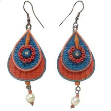 jute earrings costume jewellery jute earrings orange blue