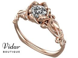 flower shaped rings images Flower shaped solitaire rose gold engagement ring vidar boutique png