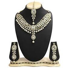 necklace set white images Aheli kundan jewelry set choker maang tikka necklace jpg