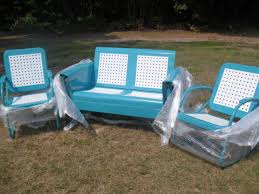 Vintage Patio Furniture - ready to go completed basketweave pattern old metal vintage porch