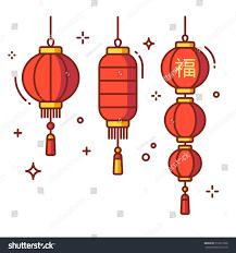 set chinese new year lanterns round stock vector 516017236