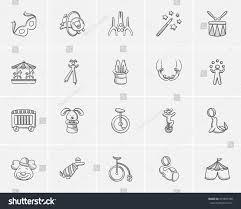 circus sketch icon set web mobile stock vector 475885780