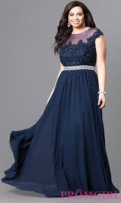 plus size navy long prom dress with beads promgirl