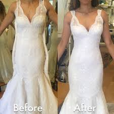 wedding dress alterations near me before after wedding dress alteration initially it was a size