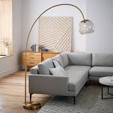 Overarching Floor L Overarching Acrylic Shade Floor L Antique Brass Smoke West Elm