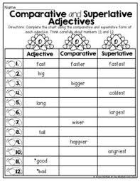 comparative and superlative adjectives tons of great printables