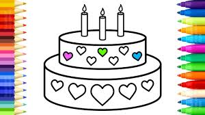 cake and candles coloring pages how to draw cake with hearts