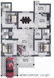 sq ft single storied space saving 3bhk design free house plan