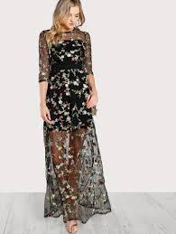 maxi dresses shop lace print chiffon dresses shein com
