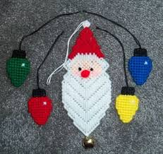 santa light bulb ornaments plastic canvas set of 5