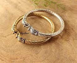 silver gold plated bracelet images 2 elephant antique silver and gold bangle bracelets online in jpg
