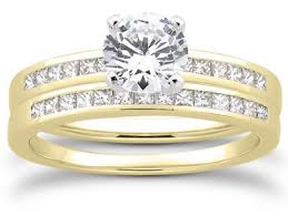 yellow gold bridal sets 1 2 carat and princess cut diamond bridal set 14k yellow gold
