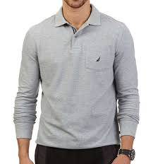nautica long sleeve solid deck polo shirt