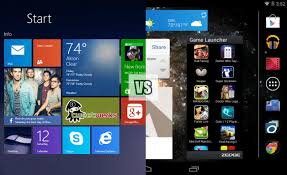 win player android tablet battle windows 8 1 vs android 4 4 start home screens