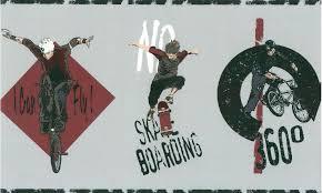 skate boarding kids wallpaper border