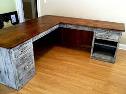 Furniture Unpolished Oak Wood Computer Desk Placed On Light Gray by L Shaped Desk From Furniture From The Barn See More At