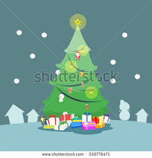 christmas tree gift box coloring book stock vector 728267482