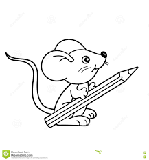 pencil coloring pages coloring page outline of cartoon little mouse with pencil