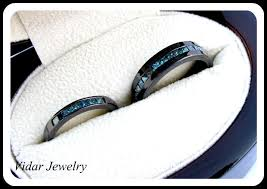 black wedding rings his and hers his and black gold blue diamond matching wedding bands vidar