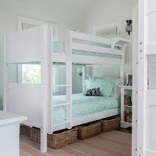 Pink And Blue Girl Bedroom With White Bunk Beds Transitional - Girls room with bunk beds
