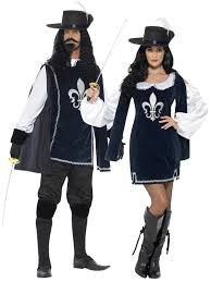 mens ladies medieval musketeer fancy dress costume couples