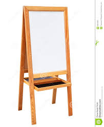 whiteboard with wooden stand isolated sign board stock image