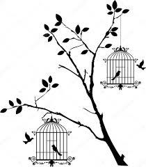 uccelli in gabbia sagoma albero con uccelli volano e uccelli in gabbia
