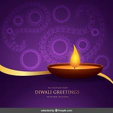 purple and gold diwali greeting vector free