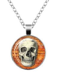 halloween skull cameo charm necklace silver in necklaces