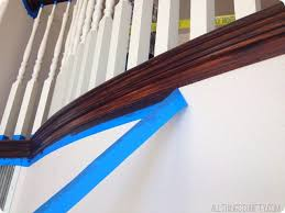 Gel Stain Banister How To Stain An Ugly Oak Banister Dark All Things Thrifty
