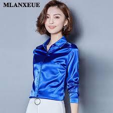 button blouses 2018 2018 silk satin blouse button lapel sleeve shirts