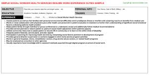 Resume Worker Social Worker Health Services Job Title Docs