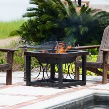 Outdoor Table With Firepit by Fire Sense 28 In Square Convertible Fire Pit Table Hammertone