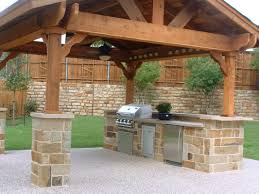 outdoor kitchen decoration using natural light brown stone outdoor