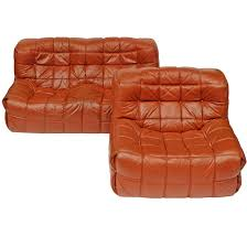 1970s leather kashima sofa and chair by michel ducaroy for ligne