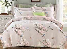 Cotton Bedding Sets Pink Flowers And Blue Birds Print 4 Cotton Bedding Sets