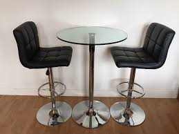 Bar Table And Chairs Table And Chairs Glass Bar Table And Two Black Leather Bar Stools