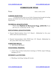 Curriculum Vitae Samples Pdf For Freshers by 100 Resume Format For Computer Science Engineering Students