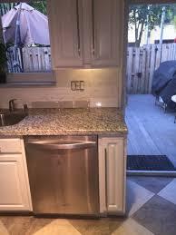 White Subway Tile Backsplash With Santa Cecilia Granite - Backsplash for santa cecilia granite