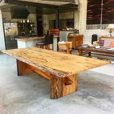 3 Metre Dining Table Large 3 Metre One Join Marri Slab Dining Table With A Surfboard