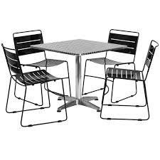 Square Aluminum IndoorOutdoor Table Set With  Black Metal - Indoor outdoor sofas 2