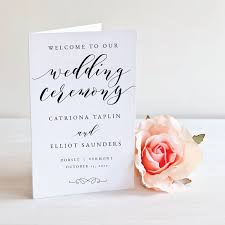 folded wedding program ceremony programs studio nellcote diy