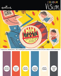 a retro kids colour palette inspired by a vintage illustration on