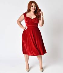 bettie page plus size red velvet sleeveless holiday swing dress